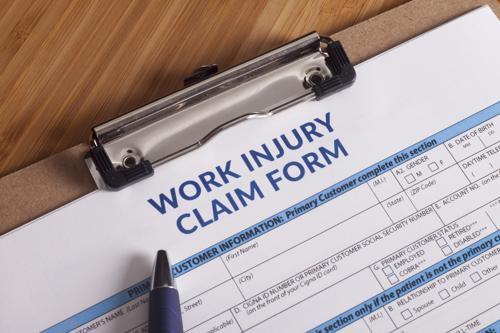 A work injury claim form.