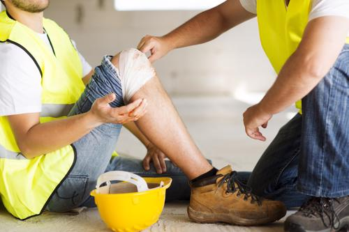 A man with a knee injury from work.