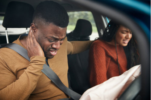 Car accident victims with neck pain